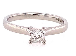 Platinum Princess Cut Diamond Solitaire Ring RN2402