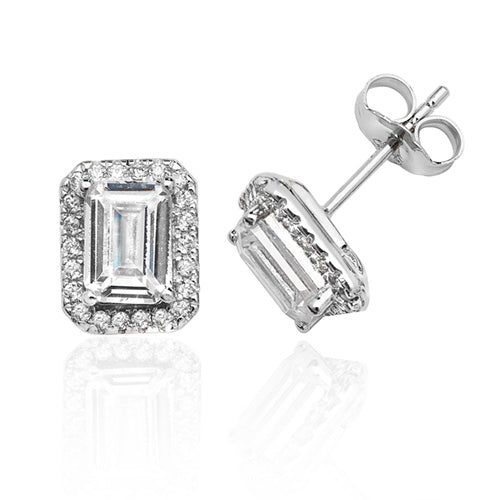 Silver Halo Cubic Zirconia Earrings