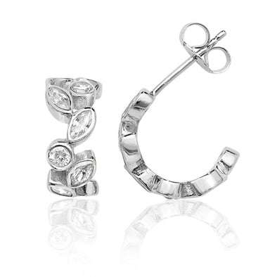 Silver Marquise & Round Cubic Zirconia Hoop Earrings