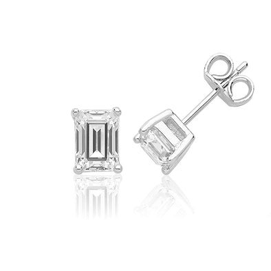 Silver & CZ Emerald Cut Claw Set Earrings