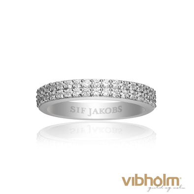 Sif Jakobs Ladies Rhodium Plated Corte Due White Cubic Zirconia Thin Ring R10762-CZ/52
