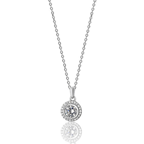 Silver Halo Cubic Zirconia Necklace
