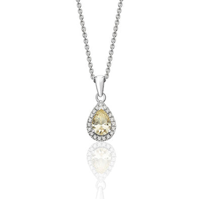 Silver Pear Shaped Cubic Zirconia Necklace
