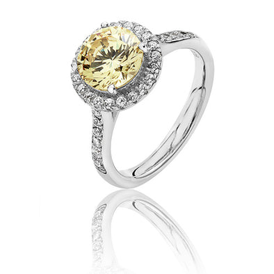 Silver Cubic Zirconia Yellow Halo Cluster Ring