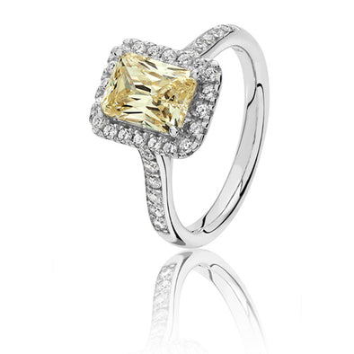 Silver Yellow Cubic Zirconia Cluster Ring