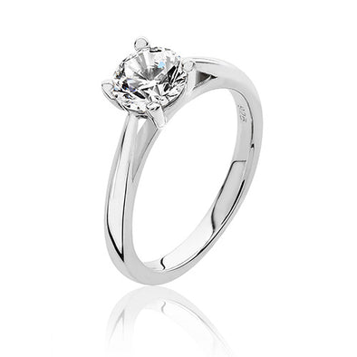 Silver Solitaire Cubic Zirconia Ring