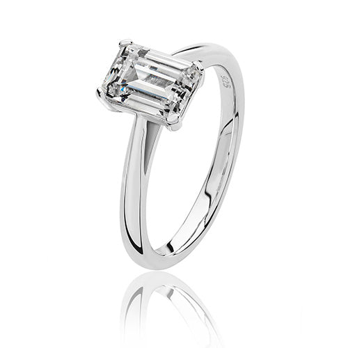 Silver Cubic Zirconia Solitaire Ring