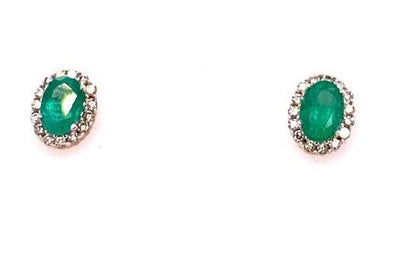 9ct Gold Emerald & Diamond Cluster Earrings