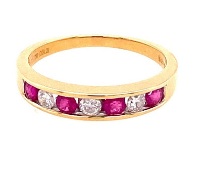 18ct Gold Ruby & Diamond Half Eternity Ring 43203B