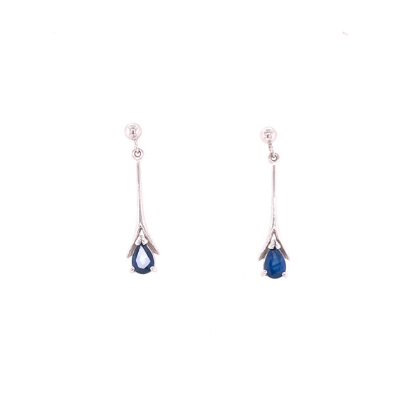 9ct White Gold Sapphire Earrings