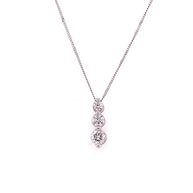 9ct White Gold Diamond Trilogy Pendant