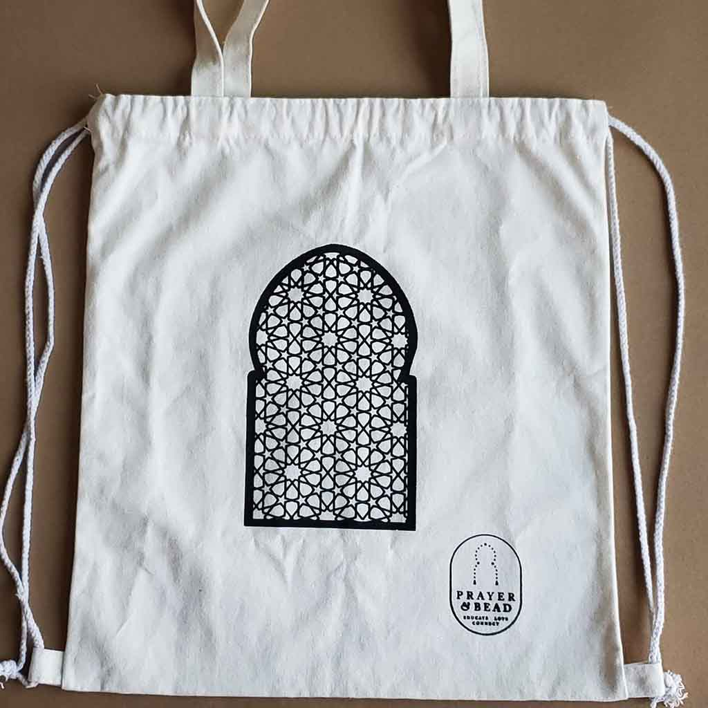 Cotton canvas bag with geometric design