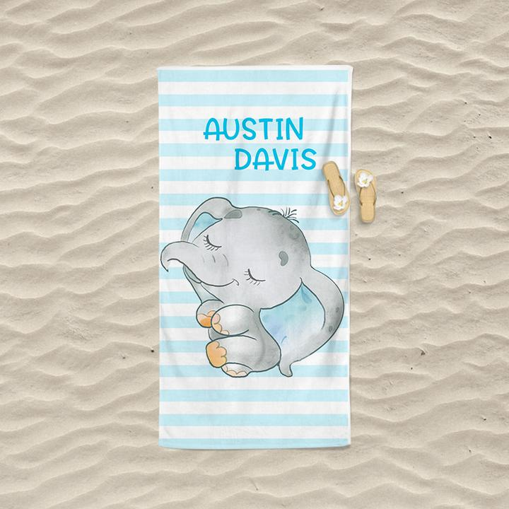 Personalized Kids Beach Towels - Elephant1 Blue