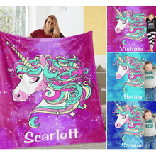 Load image into Gallery viewer, Personalized Magical Unicorn Fleece Blanket 07