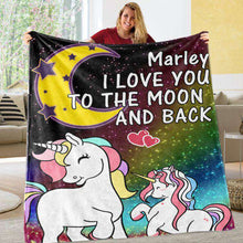 Load image into Gallery viewer, Personalized Magical Unicorn Fleece Blanket 03