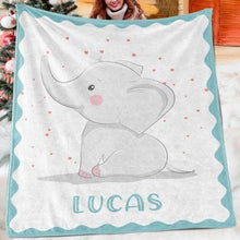 Load image into Gallery viewer, Custom Elephant Name Blanket I02
