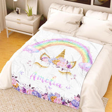 Load image into Gallery viewer, Personalized Magical Unicorn Fleece Blanket 08