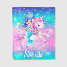 Load image into Gallery viewer, Personalized Magical Unicorn Fleece Blanket 09