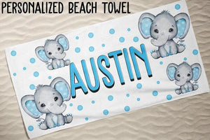 Personalized Kids Beach Towels - Elephant10 Blue