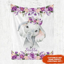 Load image into Gallery viewer, Personalized Name Fleece Blanket 13-Elephant