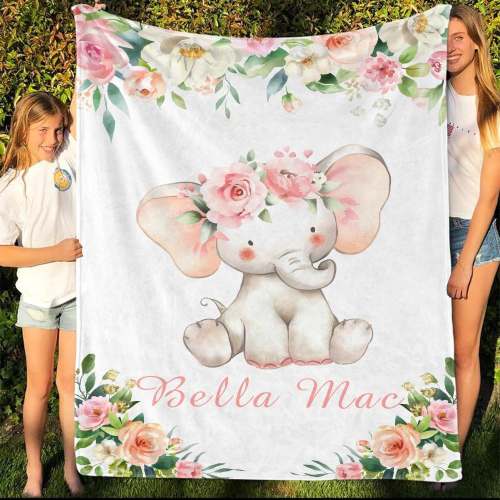 Personalized Name Fleece Blanket 15-Elephant