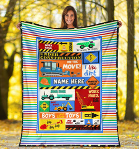 Custom Name Fleece Cartoon Blanket I13 - Construction