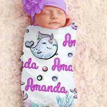 Load image into Gallery viewer, Baby Swaddle Fleece Blanket-Unicorn3