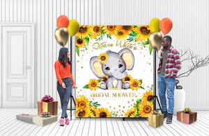Custom Baby Shower Backdrop Elephant 03
