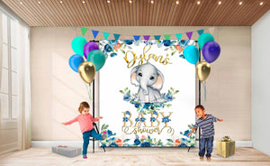 Custom Baby Shower Backdrop Elephant 06