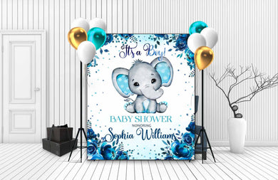Custom Baby Shower Backdrop Elephant 01