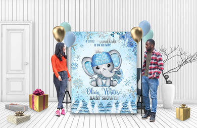 Custom Baby Shower Backdrop Elephant 07