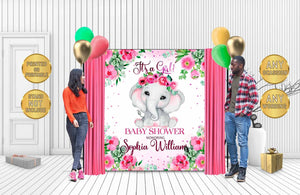 Custom Baby Shower Backdrop Elephant 04