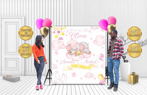 Custom Baby Shower Backdrop Elephant 02