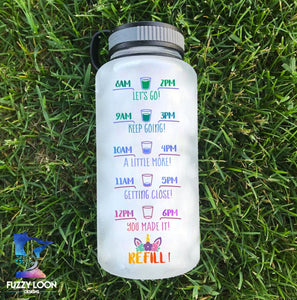 Personalized Water Bottle | Time Tracker 01 - Unicorn