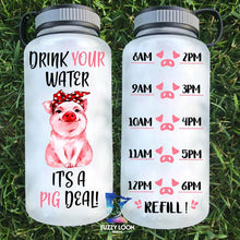 Load image into Gallery viewer, Water Bottle | Time Tracker 15 - Pig