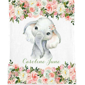 Personalized Name Fleece Blanket 09-Elephant