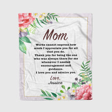 Load image into Gallery viewer, Personalized Mom/Grandma/Nana Floral Blankets I20