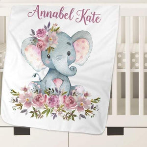 Personalized Name Fleece Blanket - Elephant28
