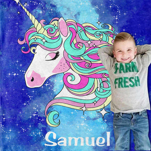 Personalized Magical Unicorn Fleece Blanket 07
