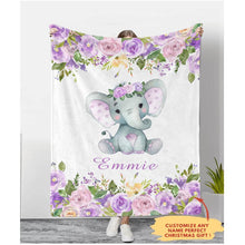 Load image into Gallery viewer, Personalized Name Fleece Blanket 14-Elephant