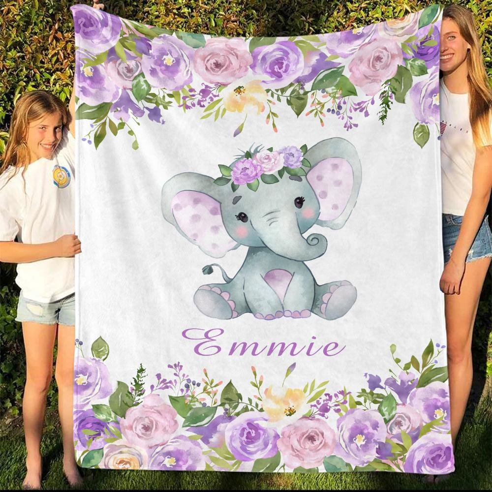 Personalized Name Fleece Blanket 14-Elephant