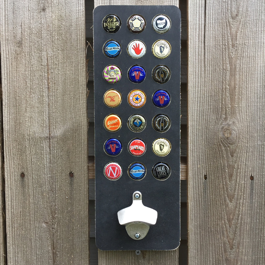 21 Bottle Cap Display and Beer Opener 21st Birthday Gift