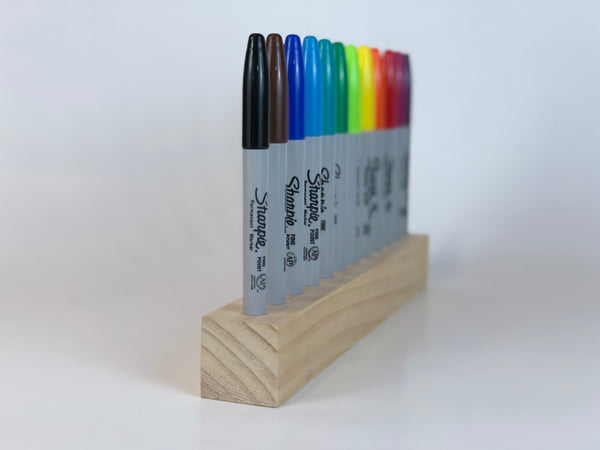 FINE POINT Sharpie Holder - Wood Display for 12 Permanent Markers