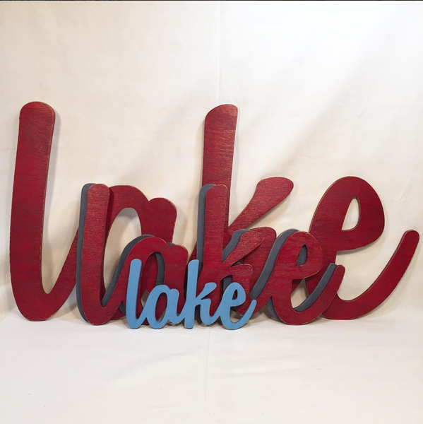 Large Lake Sign - Cottage Pond Lakehouse Cabin Decoration - L Size