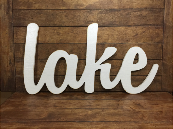 Medium Lake Sign - Cottage Pond Lakehouse Cabin Decoration - M Size