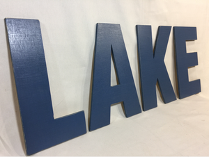 Medium Lake Sign - BLOCK - Cottage Pond Lakehouse Cabin Decoration - M Size