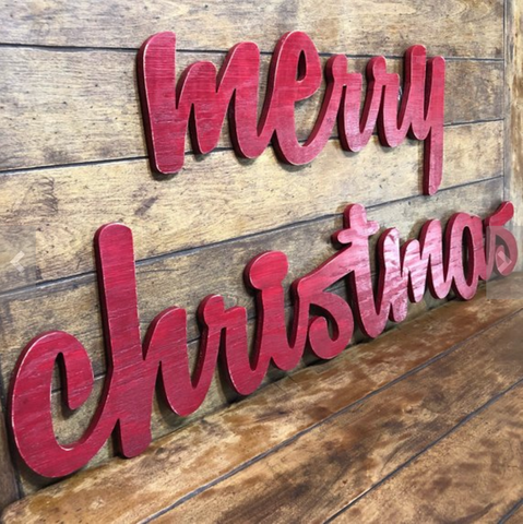 Extra Large Merry Christmas Sign Red