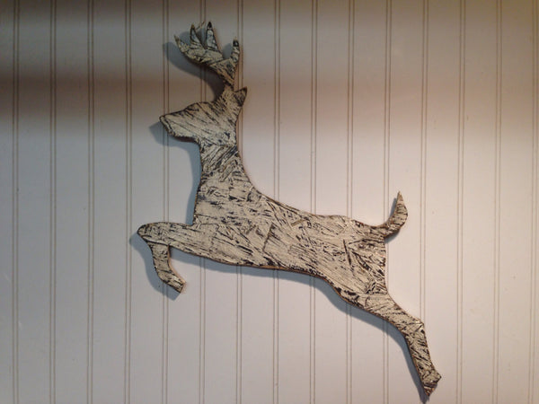 Reindeer Sign Antiqued - Medium