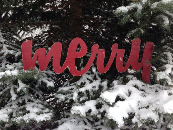 Merry Christmas Sign Red Antiqued Distressed