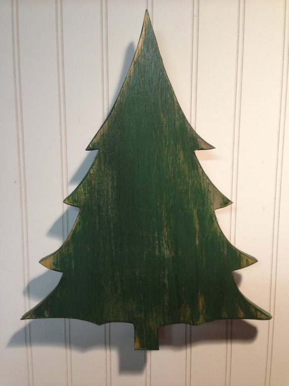 Christmas Tree Sign Merry Christmas Green Antiqued Distressed - Medium